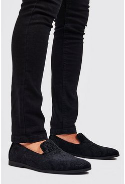 Black Faux Velvet Embossed Loafer