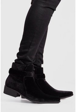 Mens Black Buckle Western Chelsea Boot