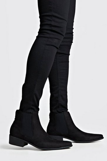 Black Faux Suede Western Chelsea Boot