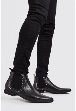 Black Faux Leather Stud Chelsea Boot