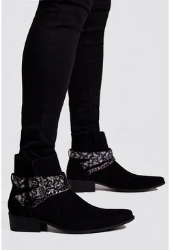 Mens Black Bandana Chelsea Boot