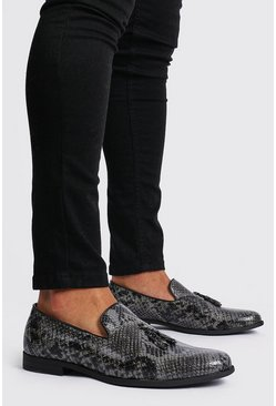 Black Faux Leather Snake Print Tassel Loafer