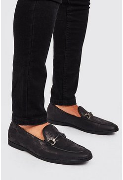 Herr Black Faux Snake Print Rubber Horsebit Loafer