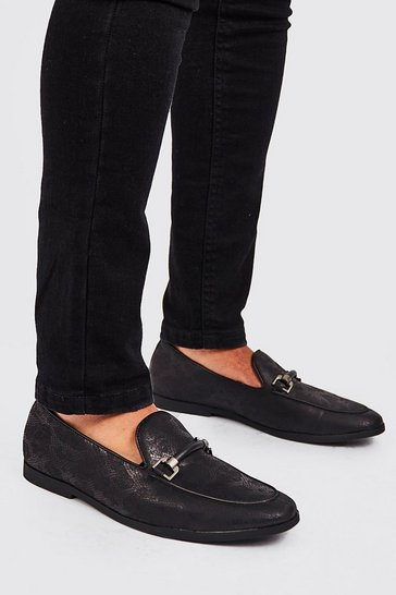 Black Faux Snake Print Rubber Horsebit Loafer