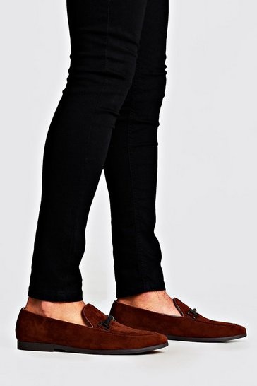 Tan Faux Velvet Rubber Horsebit Loafer