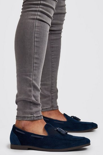 Navy Faux Velvet Checkerboard Loafer