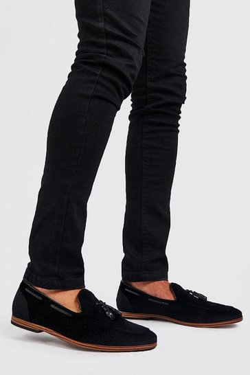 Black Faux Velvet Checkerboard Loafer