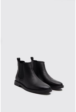 Mens Black Faux Leather Emboss Chelsea Boot