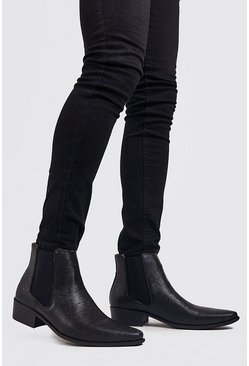 Mens Black Western Chelsea Boot