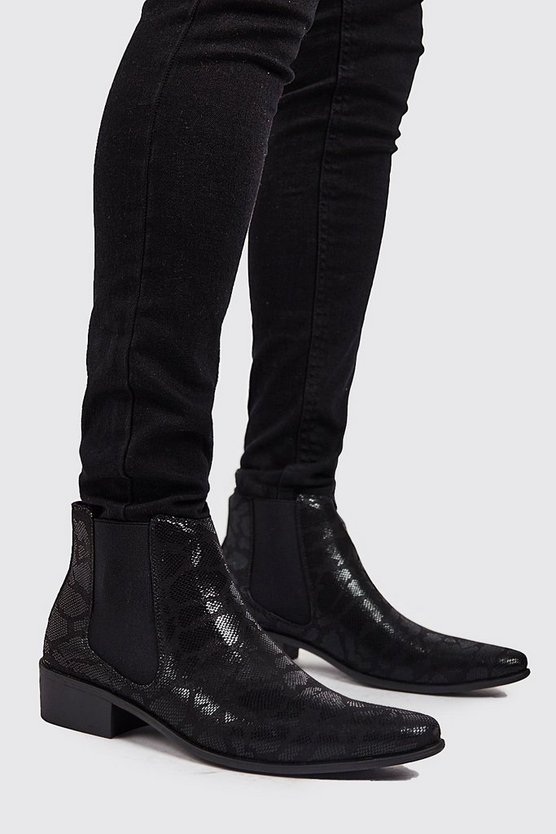 Black Faux Snake Print Western Chelsea Boot