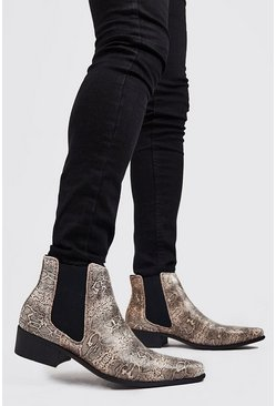 Bottines Chelsea western imprimé effet serpent, Or