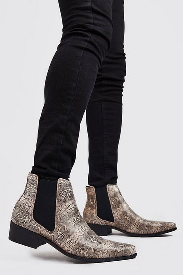 Gold Faux Snake Print Western Chelsea Boot