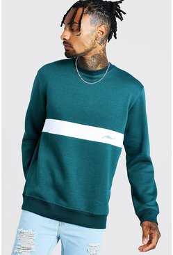 MAN Signature Sweatshirt im Colorblock-Design, Petrol, Herren