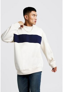 Oversized Sweatshirt im Colorblock-Design, Naturfarben, Herren