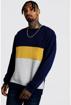 Mens Mustard Colour Block Loose Fit Sweatshirt