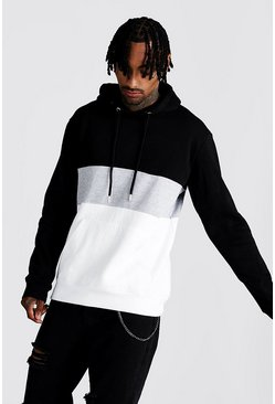 Mens Grey Colour Block Over The Head Hoodie