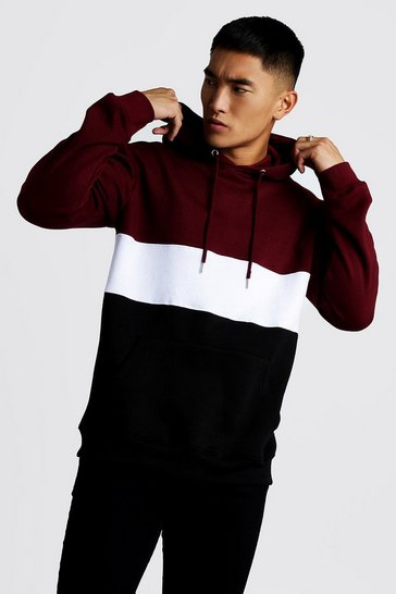 Mens Burgundy Colour Block Over The Head Hoodie