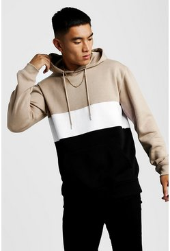 Mens Taupe Colour Block Over The Head Hoodie