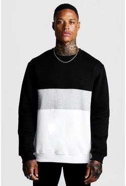 Mens Grey marl Colour Block Sweatshirt