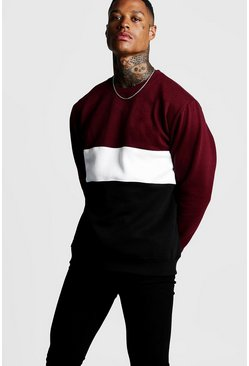 Herr Burgundy Colour Block Sweatshirt
