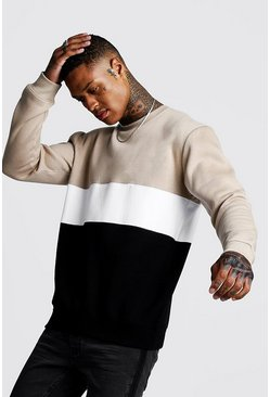 Mens Taupe Colour Block Sweater