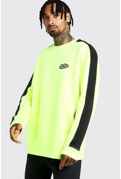 Sweat oversize couleur douce Gothic M Globe, Neon-yellow, Homme
