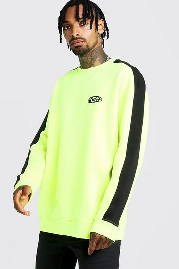 Mens Neon-yellow Gothic M Globe Oversized Sweat In Colour Block