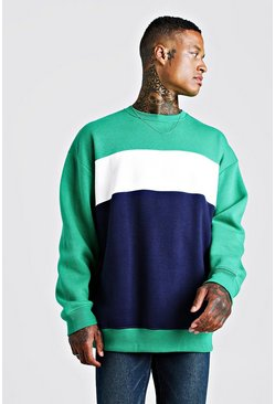Mens Green Colour Block Oversized Sweatshirt