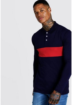 Herr Red Colour Block Muscle Fit Long Sleeve Polo