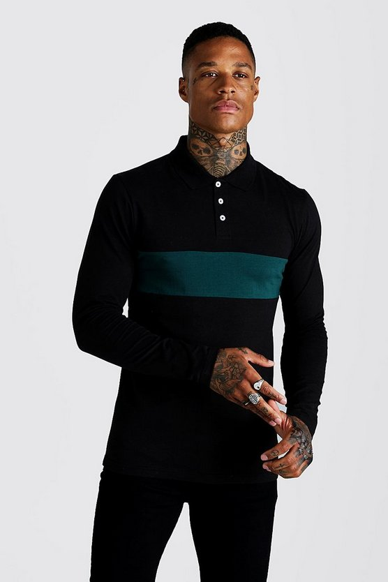 Mens Teal Colour Block Muscle Fit Long Sleeve Polo