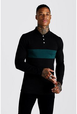Teal Colour Block Muscle Fit Long Sleeve Polo