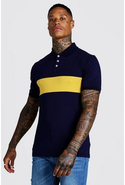 Navy Colour Block Muscle Fit Polo