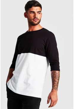 Mens Black Colour Block 3/4 Sleeve T-Shirt