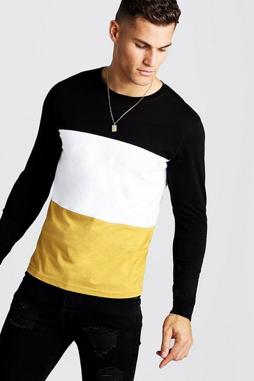 Mens Mustard Colour Block Long Sleeve T-Shirt