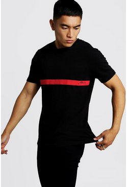 T-shirt colour block signature MAN, Noir, Homme