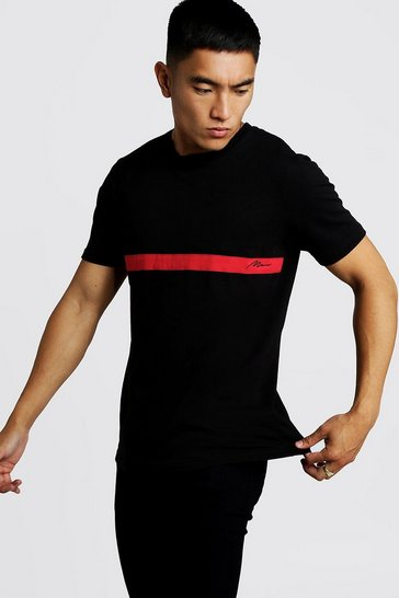 Mens Black MAN Signature Colour Block T-Shirt
