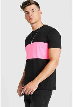 Mens Neon-pink Colour Block T-Shirt