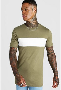 Lang geschnittenes Muscle Fit T-Shirt im Colorblock-Design, Khaki, Herren