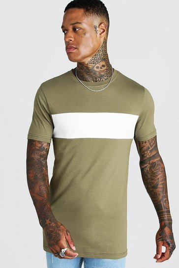 Mens Khaki Colour Block Muscle Fit T-Shirt In Longline