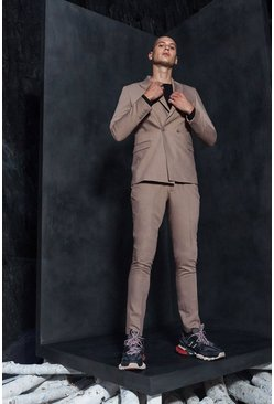 Mens Sand MAN Design PU Tab Smart Trousers