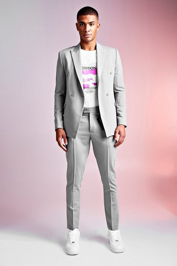 Mens Grey MAN Design PU Tab Smart Trousers