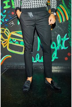 Mens Black MAN Design PU Tab Smart Trouser