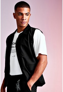 Black MAN Design Sleeveless Tailored Shacket