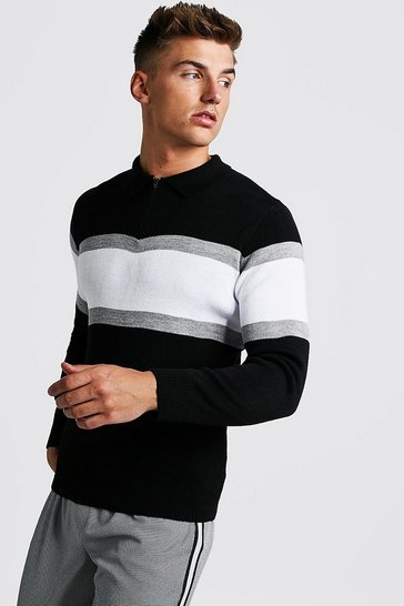 Black Muscle Fit Long Sleeve Colour Block Knitted Polo
