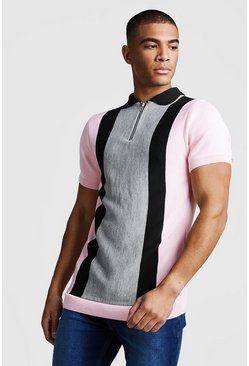 Herr Slate Muscle Fit Short Sleeve Colour Block Knitted Polo