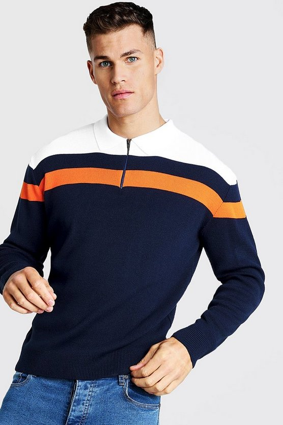 Mens Navy Regular Fit Long Sleeve Colour Block Knitted Polo