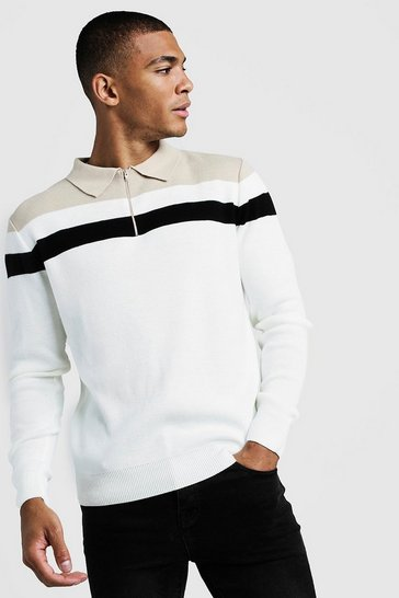 Mens Cream Regular Fit Long Sleeve Colour Block Knitted Polo