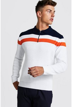 Mens White Regular Fit Long Sleeve Colour Block Knitted Polo