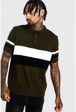 Herr Black Regular Fit Short Sleeve Colour Block Knitted Polo