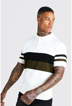 Mens Cream Regular Fit Short Sleeve Colour Block Knitted Polo